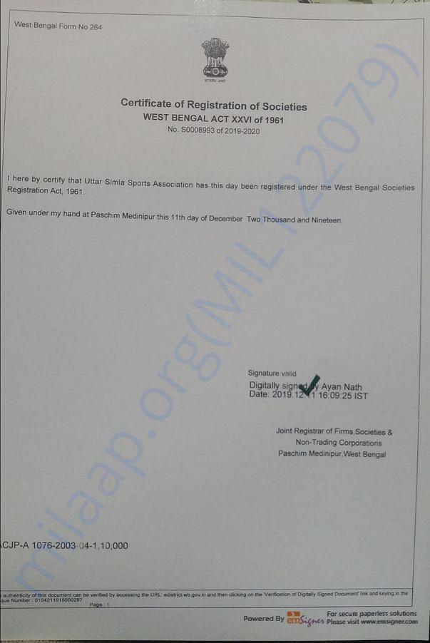 Club Registration Certificate