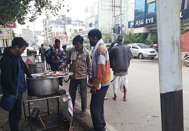 Free food serving -Earlier by Food Stall