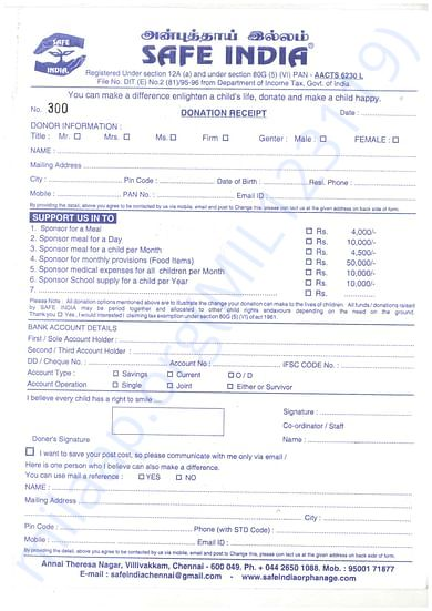 SAFE INDIA give 80 G (5) (VI) Receipt to respected Donations