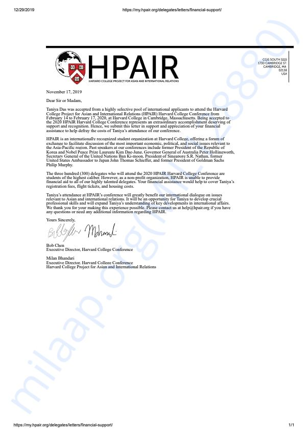 Letter for Financial Support provided by Harvard HPAIR