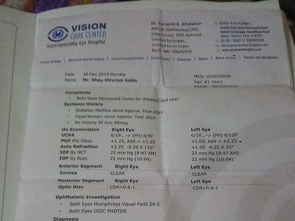 Support Mahesh Recover From Cataract Eyes