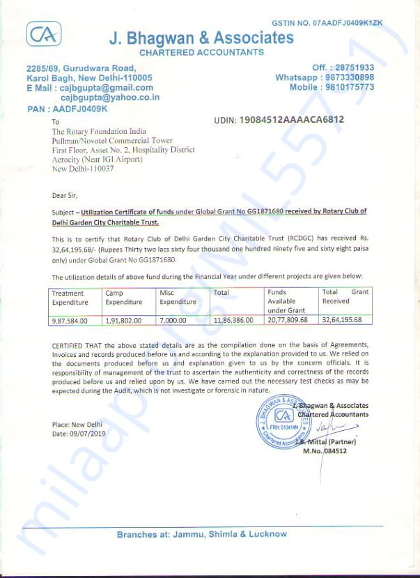 Funds Utilization Certificate for Global Cancer Project
