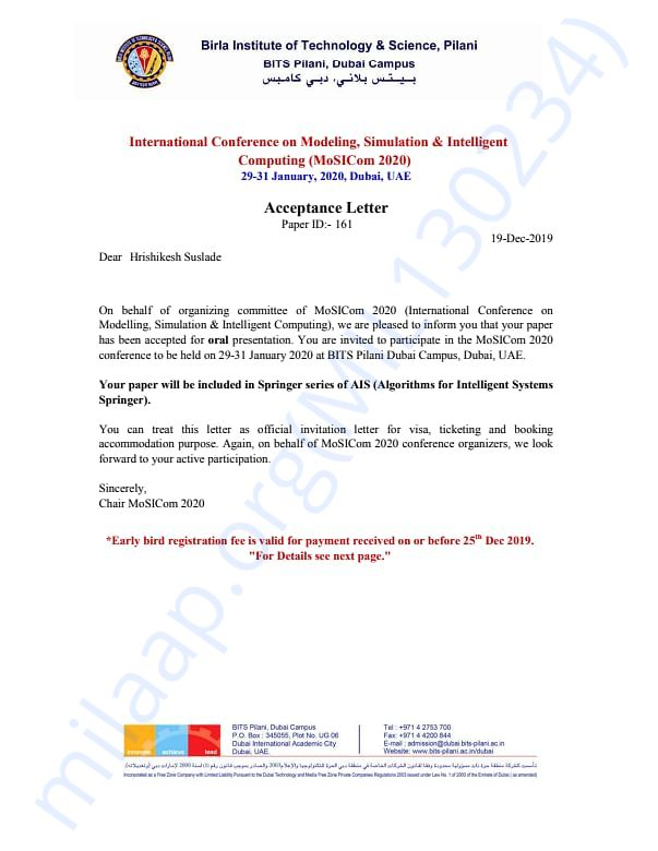 Acceptance letter of Mosicom Conference Organised By Bits Dubai