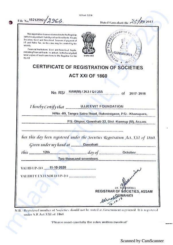 Registration Certificate of Ujjeevit Foundation