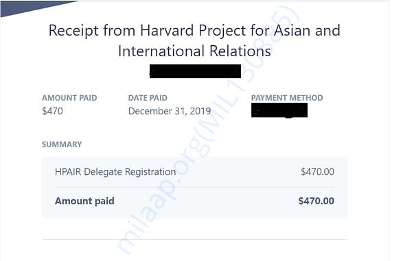Fee Payment details for admission to Harvard HPAIR