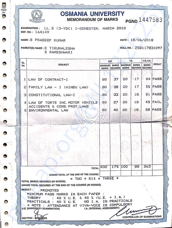 Documents of LLB memo & I'd cards of my college