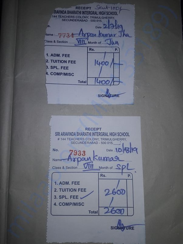 Monthly school fees and special fees reciept