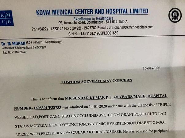 Help Sundarkumar Fight Pulmonary Edema And Peripheral artery disease