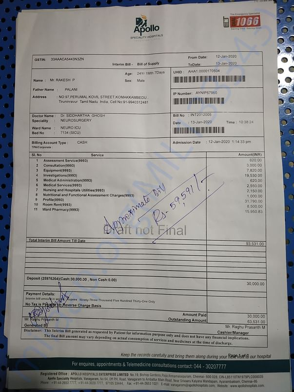 Apollo hospital discharge summary and Bill
