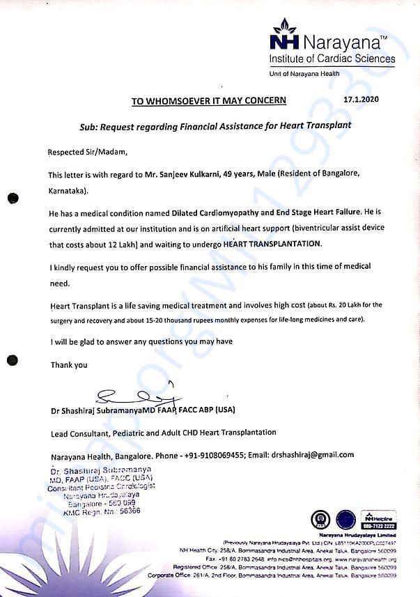 Narayana Hrudayalaya Cardiologist Letter