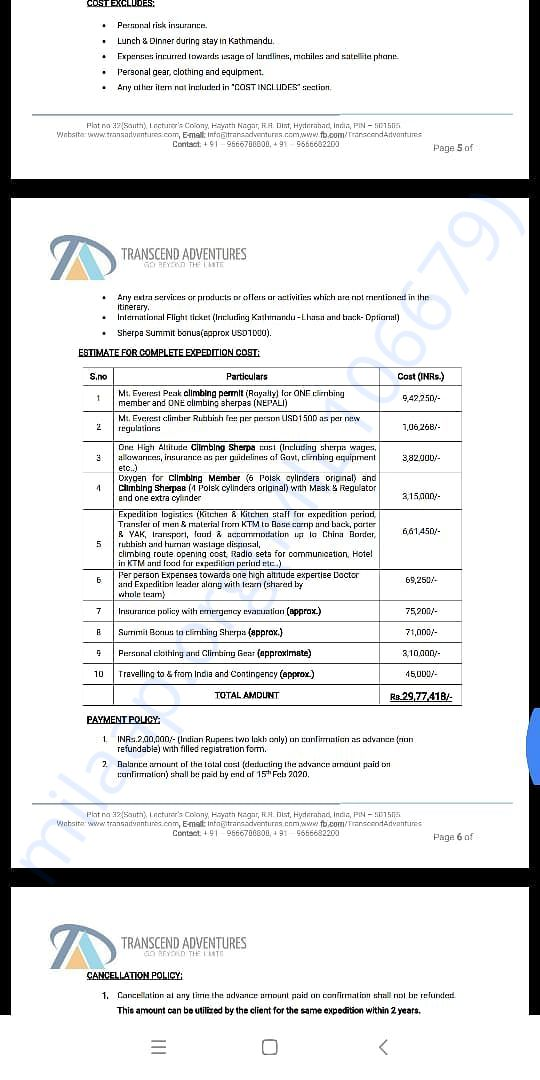 Invitation for climbing Mt Everest - Page 6 - Estimated Expenses