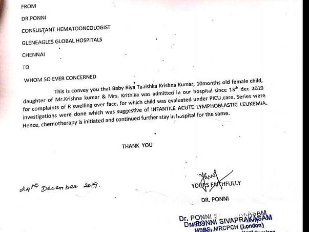 Support Riya Tanishka Recover From Acute Lymphoblastic Leukemia