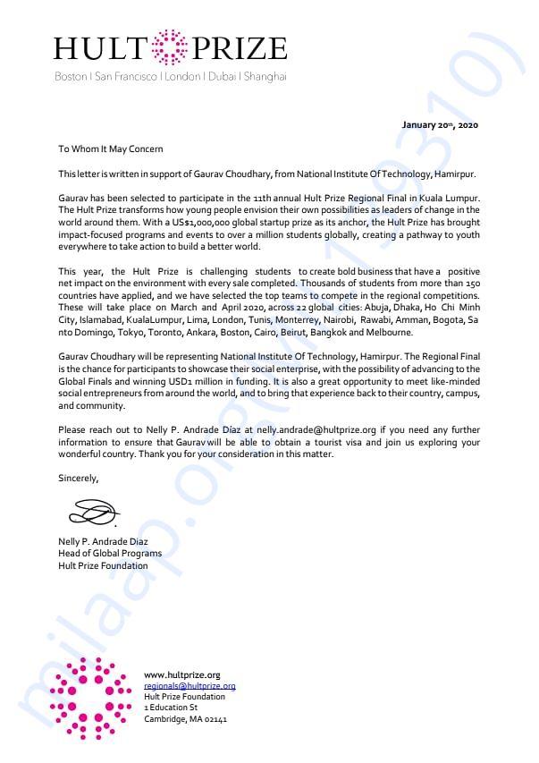 Support letter of Gaurav Choudhary