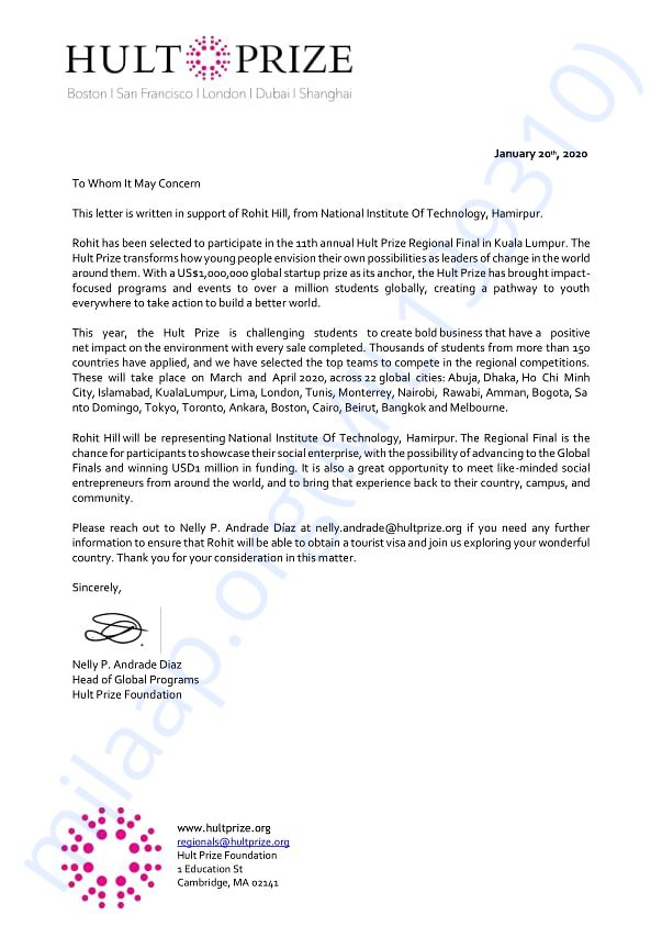Support letter of Rohit Hill