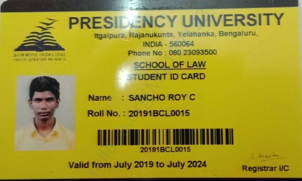 Identity card provided by the University