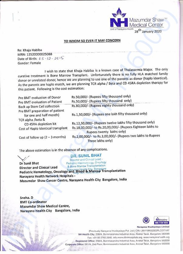 This is estimation letter of hospital total cost of transplant 35 lakh