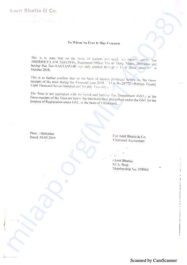 Abhidheya Audit Report 2018-19