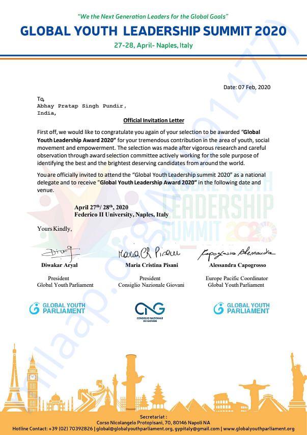 Youth award invitation
