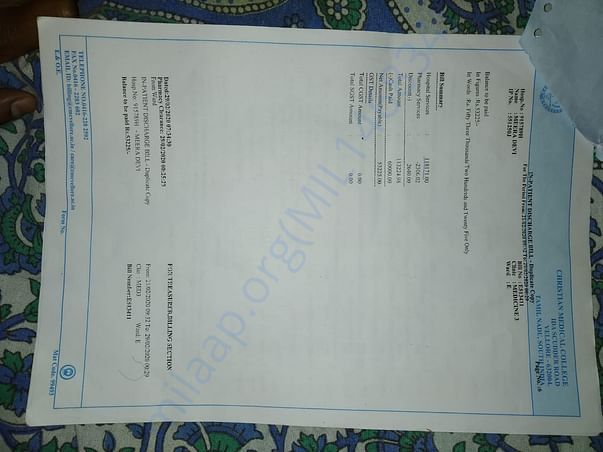 Just 1 hospital bill of cmc Vellore