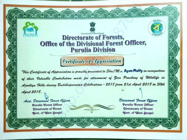 Certificate from west bengal forest department for  social work