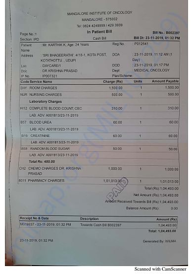 Hospital Bill November 23, 2019 - Mangalore Institute of Oncology