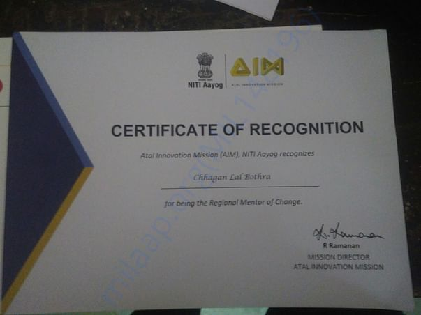 Awarded as Regional Mentor of Change by AIM, NITI Aayog