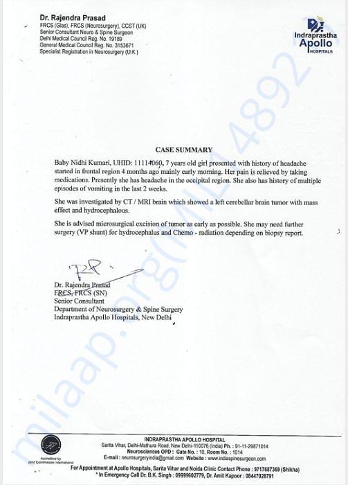 Dr. Prasad medical note