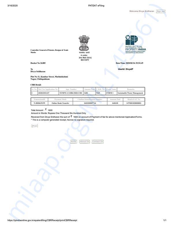 Patent Bill/Receipt