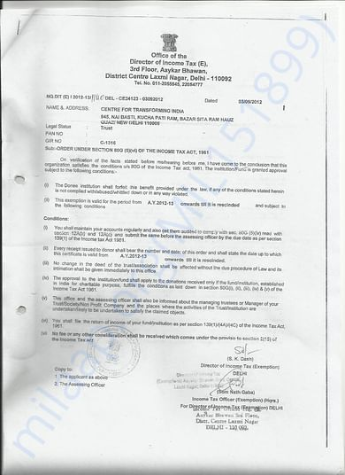 80G Certificate