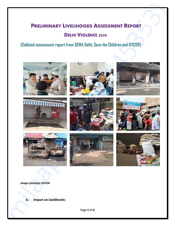 Preliminary Livelihoods Assessment Report