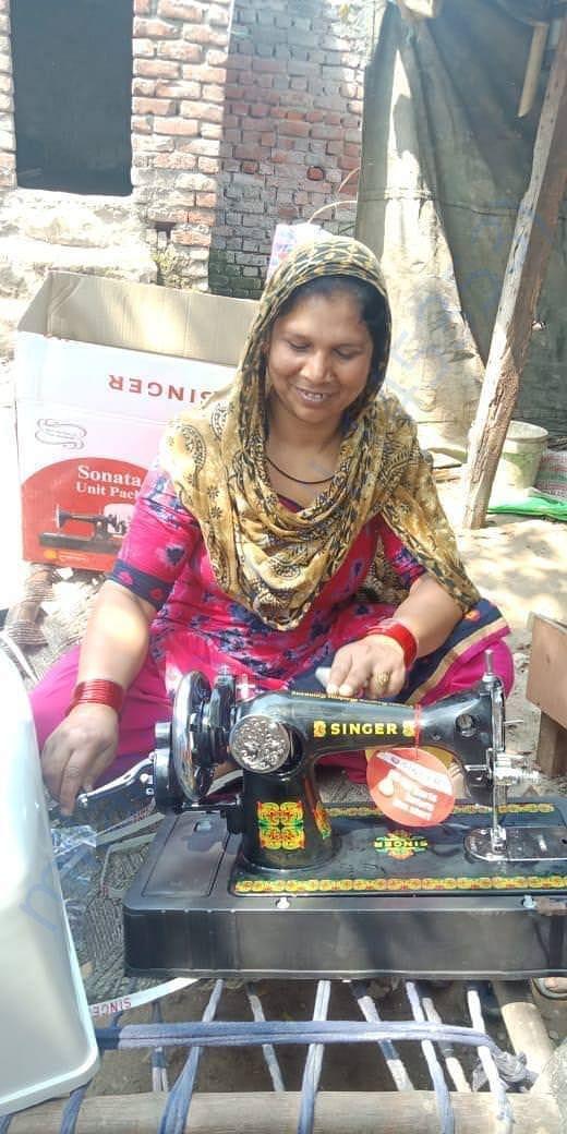 Sewa Team provided asset (tailoring machine) for restoring her work