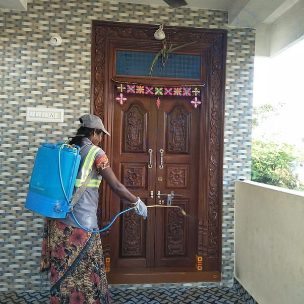 Spraying disinfectants in residential localities