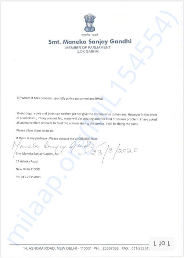 Official letterhead from Smt. Maneka Gandhi's office (Animal Workers)