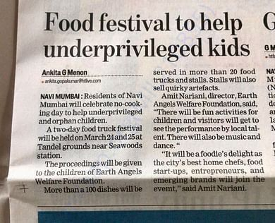 Fund Raiser for Underprivileged through Food Festival