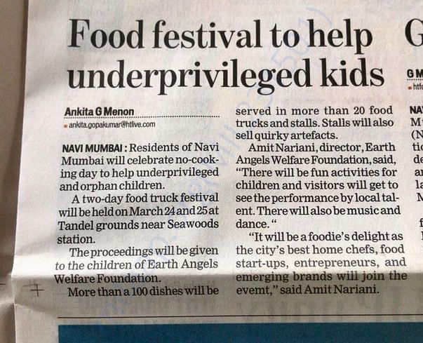 Fund Raiser for Underprivileged through Food Festival