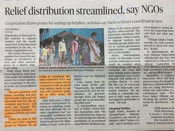 Feed Chennai in the news (The Hindu, 22 Apr 2020)