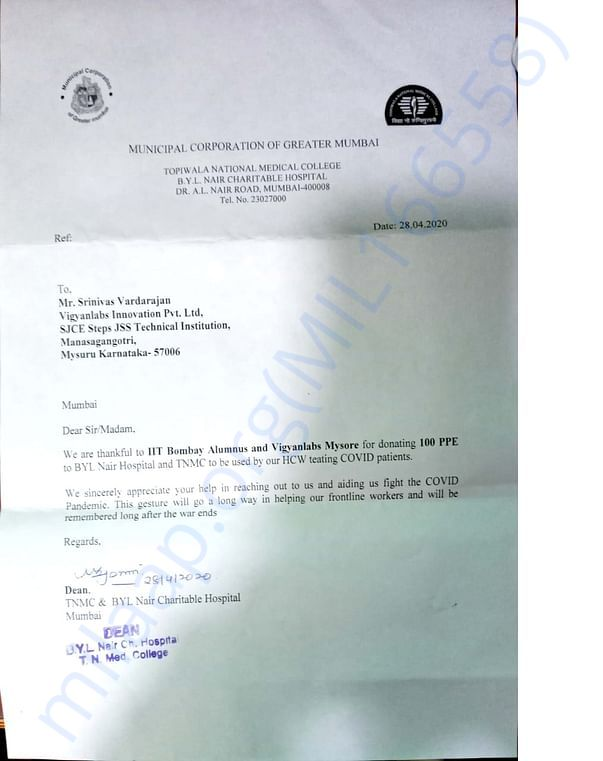 Letter of appreciation from Nair Hospital