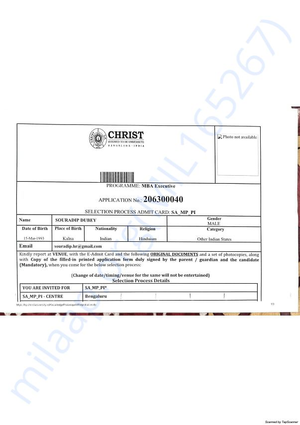 Selection process admit card