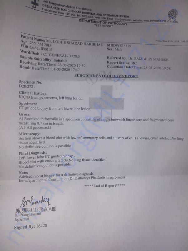 Report indicating possible metastasis.