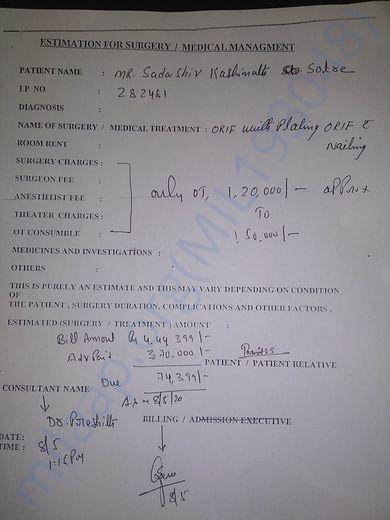 Estimation for left leg Surgery and billed amount by Yashoda Hospital