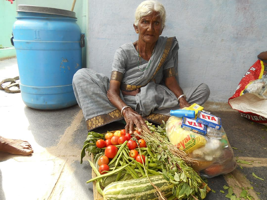 donation of monthly food provisions to poor elderlyperson
