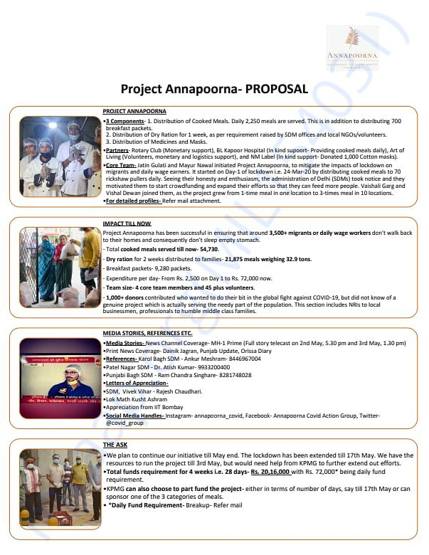 Project Annapoorna Proposal