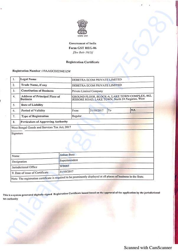 GST registration certificate- Debetra Ecom Pvt Ltd