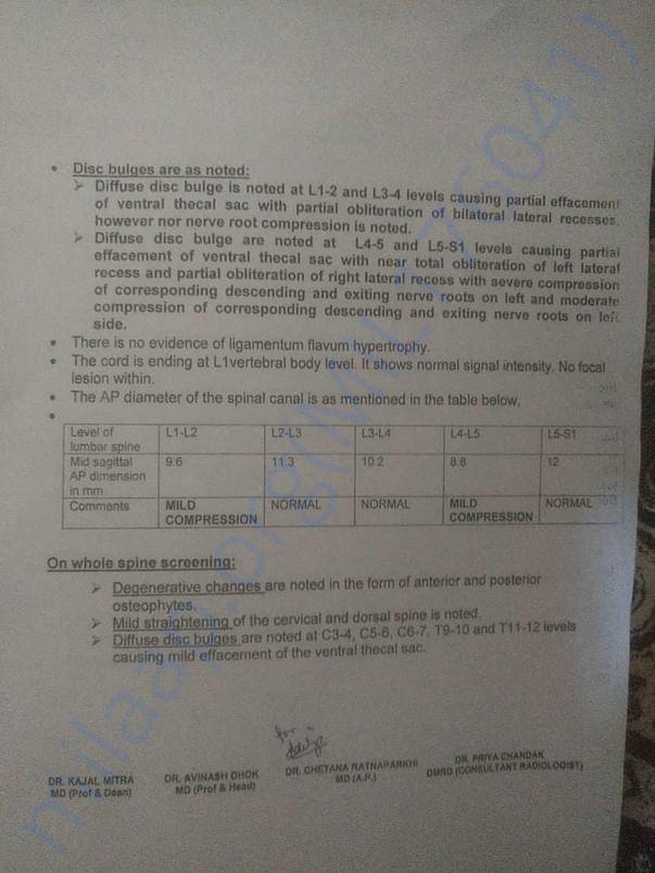 MRI Report of paitent