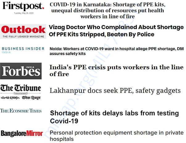Media's reports towards shortage of safety gears to the health workers