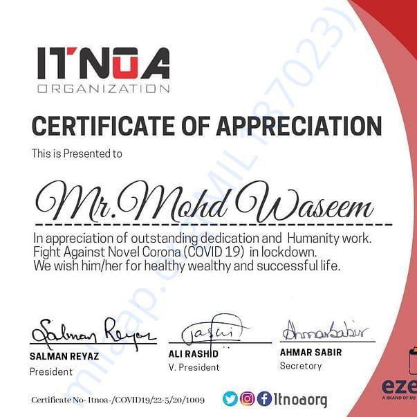 Recieved 2nd certificate of appreciation in a month