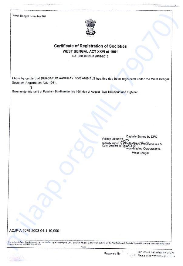 Registration Certificate of Durgapur Aashray for animals