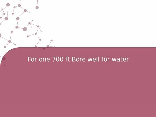 For one 700 ft Bore well for water