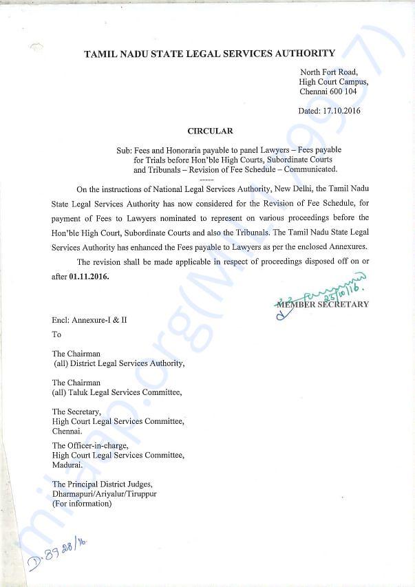 Circular of Tamil Nadu Legal Service