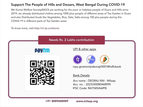 Support The People of Hills and Dooars, West Bengal During COVID-19